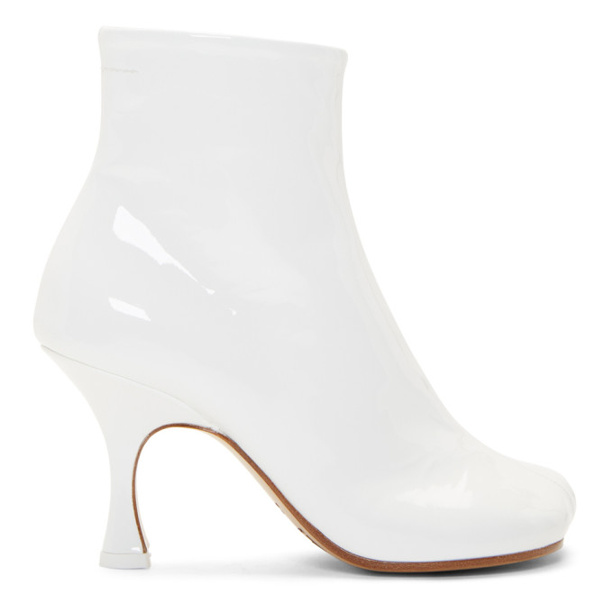 MM6 Maison Margiela White Patent Flared Heel Boots