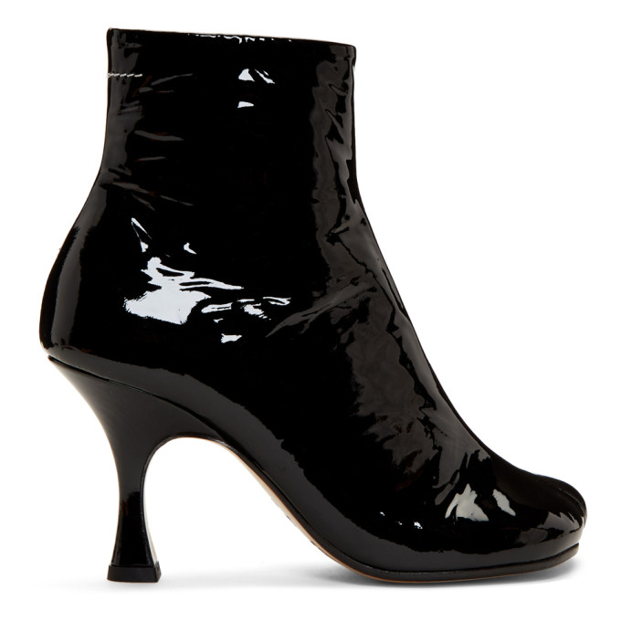 MM6 Maison Margiela Black Patent Flared Heel Boots
