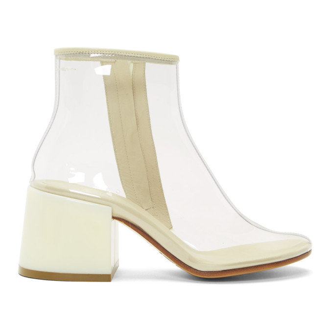 MM6 Maison Margiela Tranparent PVC Flare Heel Boots