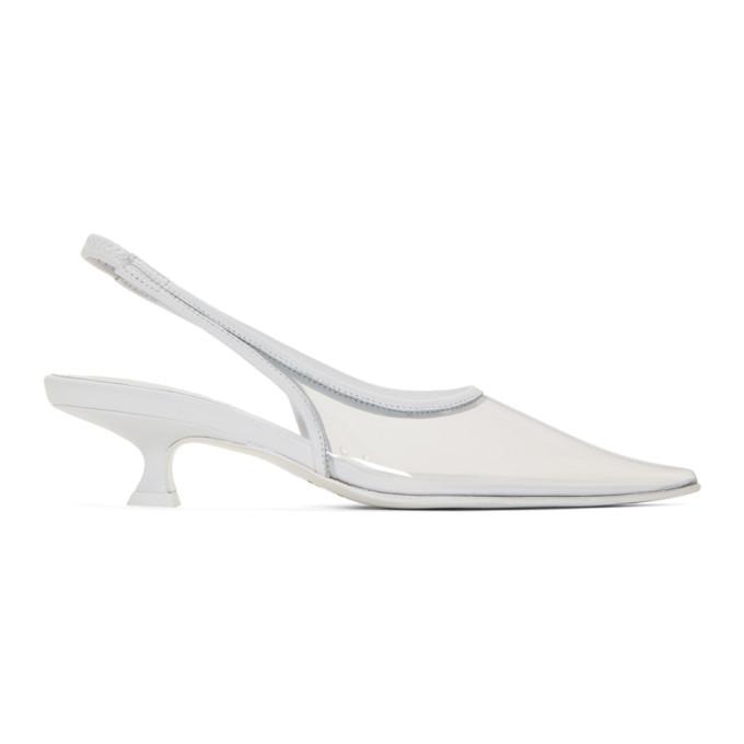 MM6 Maison Margiela White Transparent PVC Slingback Heels