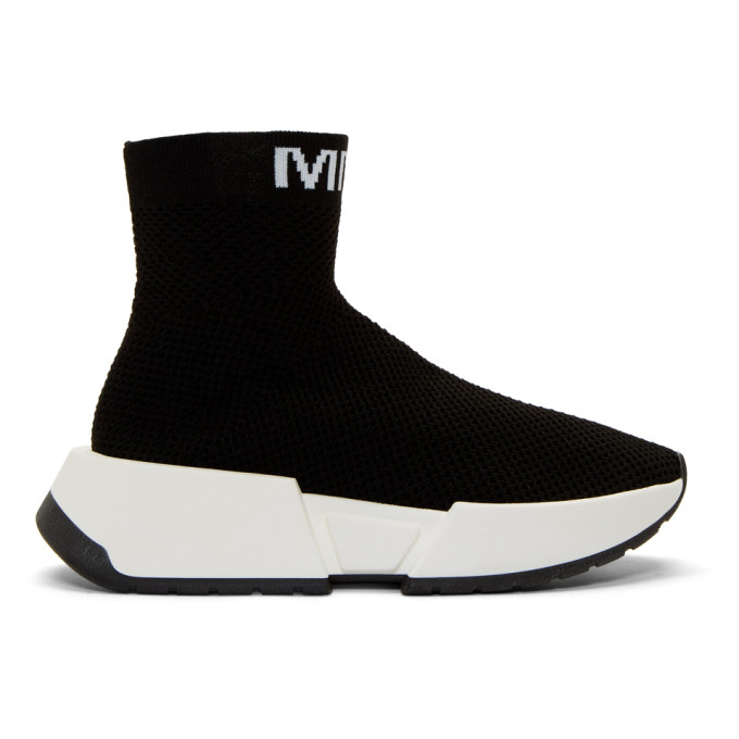 MM6 Maison Margiela Black Second Skin High-Top Sneakers