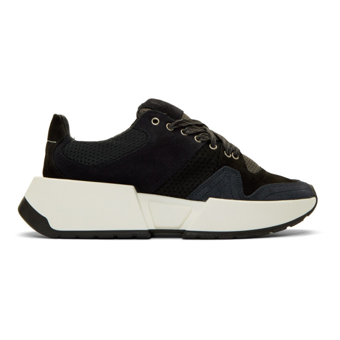 MM6 Maison Margiela Black and Navy Flare Sneakers