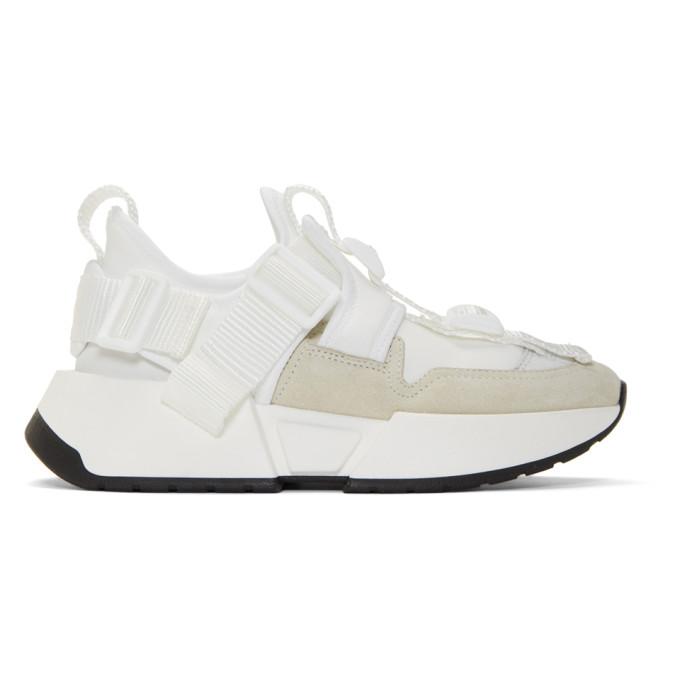 MM6 Maison Margiela White Safety Strap Platform Sneakers