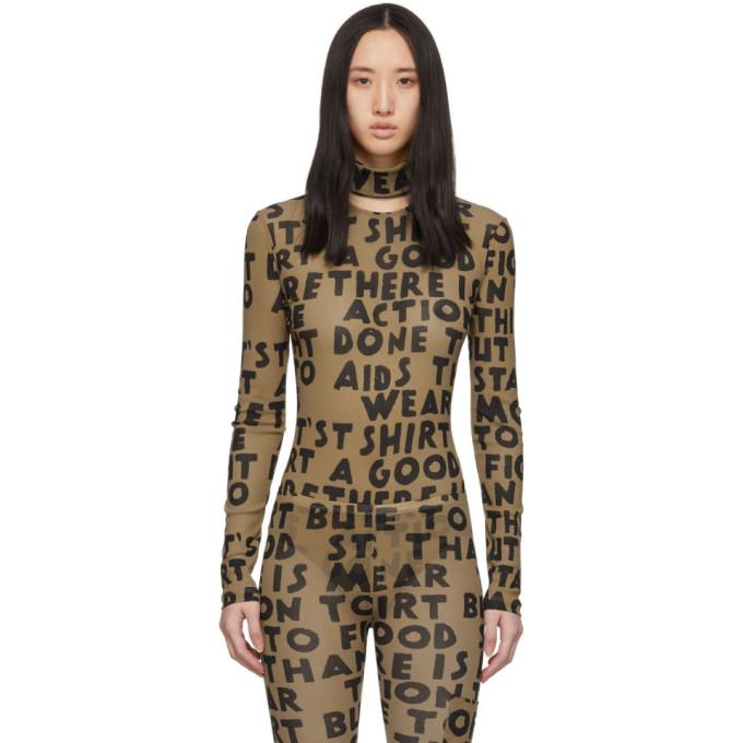 MM6 | MM6 Maison Margiela Beige Text Print Bodysuit | Goxip