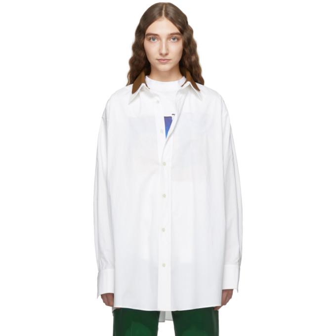 Plan C Chemise blanche et brune Collar
