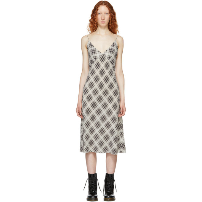 Redux Grunge Bias-Cut Plaid Washed Silk Slip Dress in 112 Ivorymu