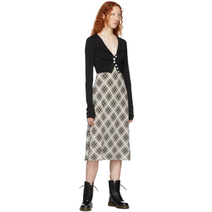 Marc Jacobs Redux Grunge Bias-Cut Plaid Washed Silk Slip Dress In White