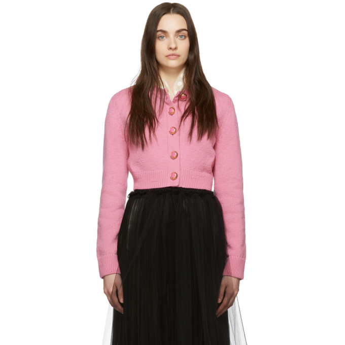 Marc Jacobs Knitwear MARC JACOBS PINK CROPPED KNIT CARDIGAN