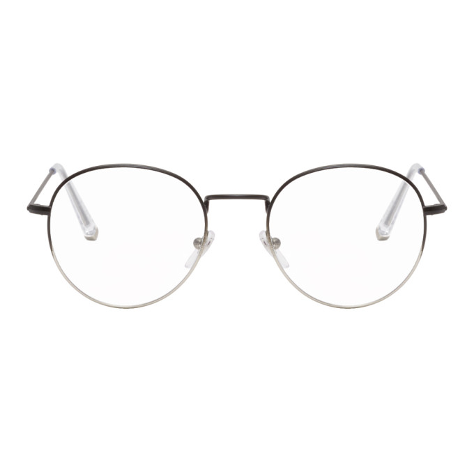 SUPER Super Black And Silver Number 40 Glasses in Fadblkslv