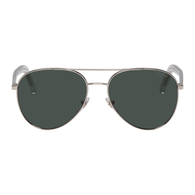 SUPER Super Silver And Black Ideal Sunglasses in Blkslv