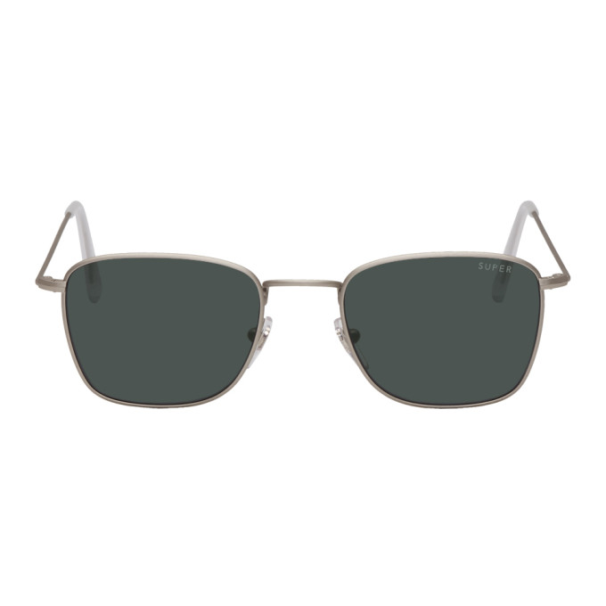 SUPER Super Silver And Black Strand Sunglasses in Blackslvmat