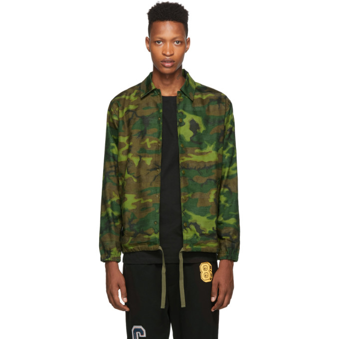 Clot Blouson de coach a motif camouflage vert