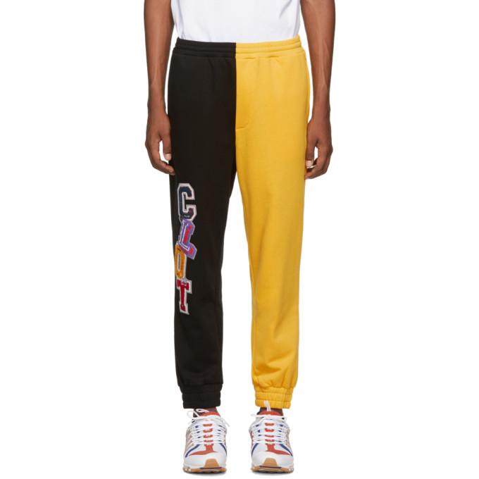 Clot Pantalon de survetement contraste noir et jaune