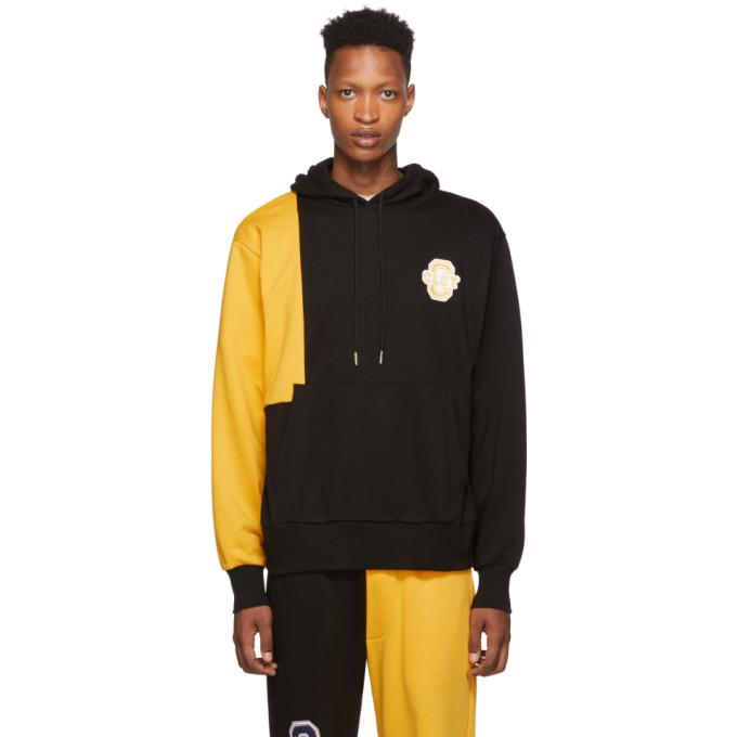 Clot Pull a capuche contraste noir et jaune