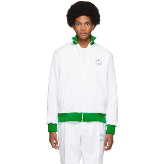Casablanca Blouson de survetement blanc et vert After Sports
