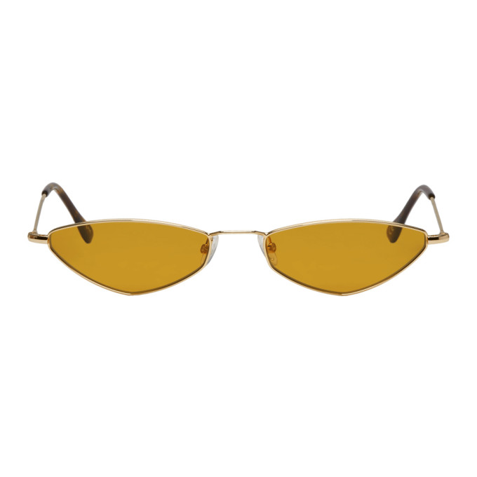 Andy Wolf Gold & Brown Eliza Sunglasses