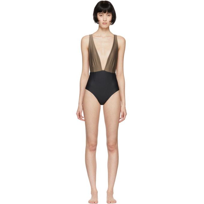 HAIGHT Haight Black And Taupe Marina One-Piece Swimsuit in Taupe/Black