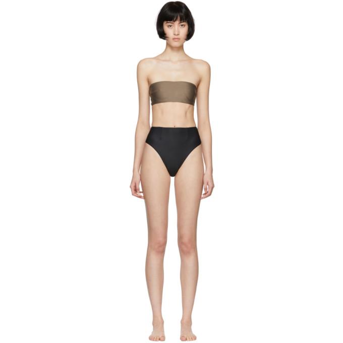 HAIGHT Haight Black And Taupe Marcella Bikini in Black/Taupe