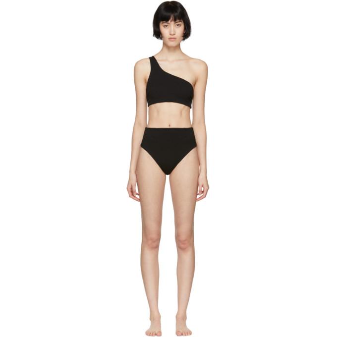 HAIGHT Haight Black One Shoulder Perlin Bikini