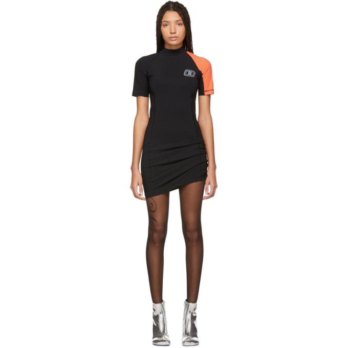 ALEXANDERWANG.T Swim Jersey Short Sleeve Dress in 938 Blk/Pap