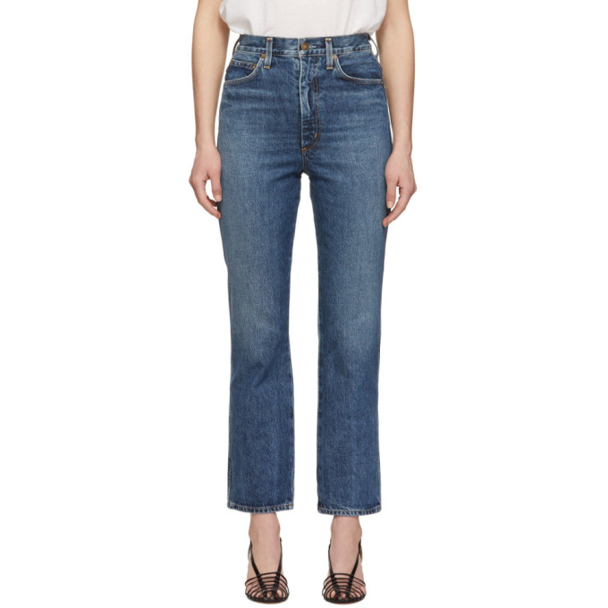 Agolde AGOLDE BLUE PINCH WAIST HIGH-RISE KICK JEANS