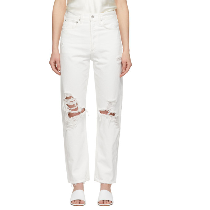 Agolde Jean blanc 90s Mid Rise Loose Fit