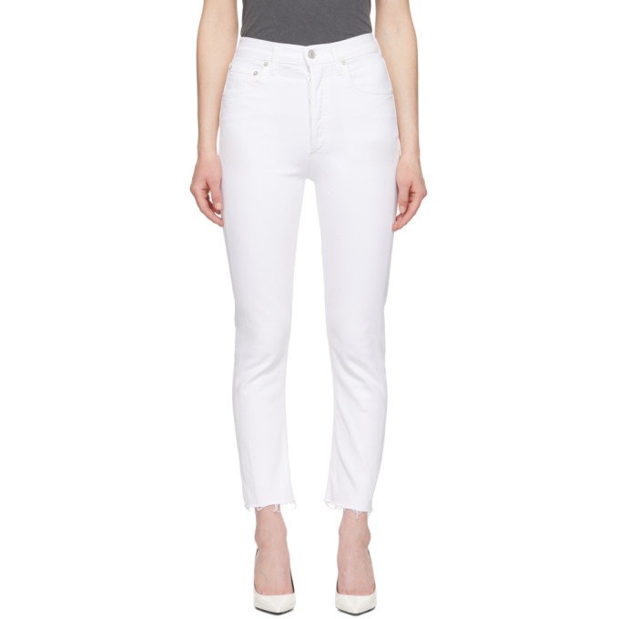 Agolde Jeans AGOLDE WHITE RILEY HI RISE STRAIGHT CROP JEANS