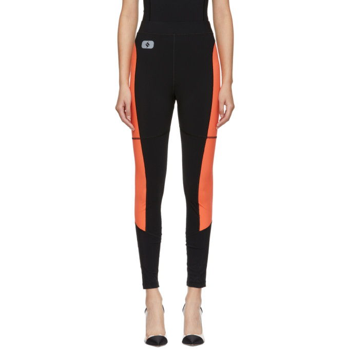 ALEXANDERWANG.T Alexanderwang.T Black And Orange Swim Jersey Leggings in 938 Blk/Pap