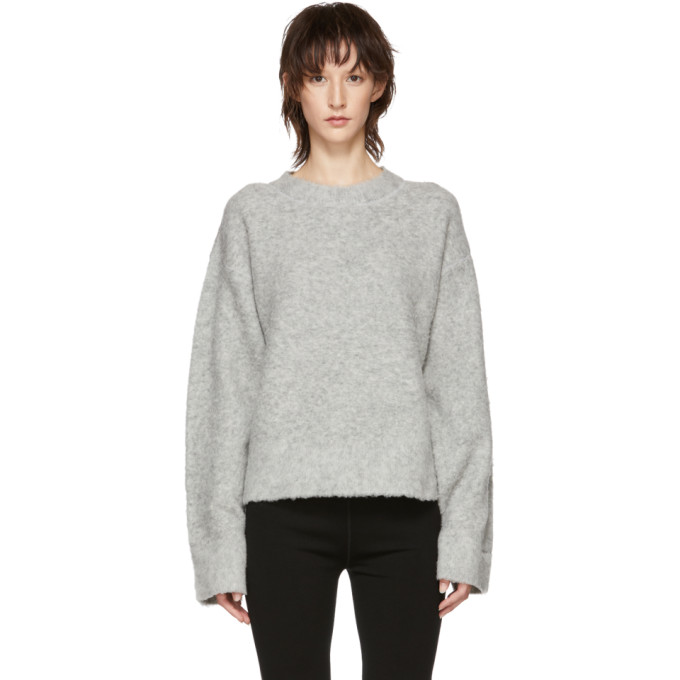 T By Alexander Wang ALEXANDERWANG.T GREY EXAGGERATED PILLING PULLOVER SWEATER