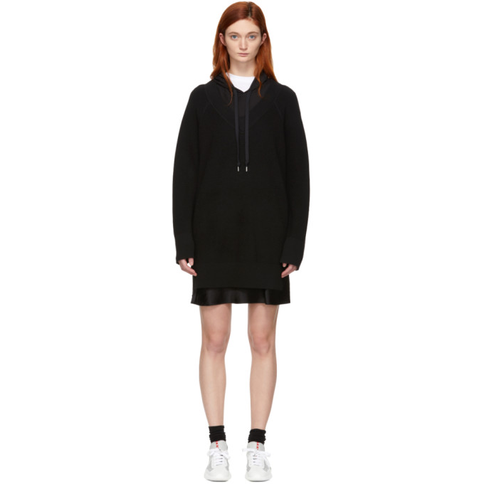 ALEXANDERWANG.T Alexanderwang.T Black Bi-Layer Hooded Dress in 064 Blk/Blk
