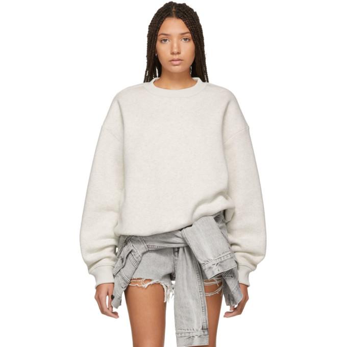 ALEXANDERWANG.T. Alexanderwang.T Grey Dense Fleece Sweatshirt in 071 Oatmeal