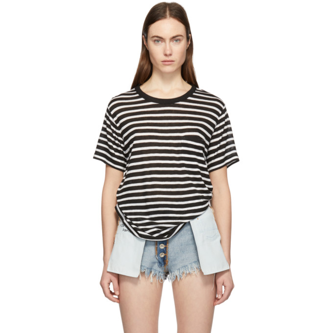 933a04c40f90 alexanderwangt Black and White Slub Jersey Pocket T Shirt