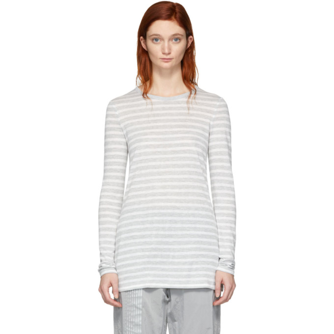 ALEXANDERWANG.T Alexanderwang.T Grey And White Striped Slub Long Sleeve T-Shirt in 942 Grey/Iv