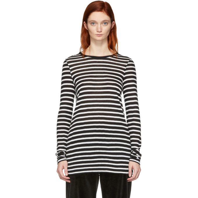 ALEXANDERWANG.T Alexanderwang.T Black And White Striped Slub Long Sleeve T-Shirt in 944 Blk/Ivo