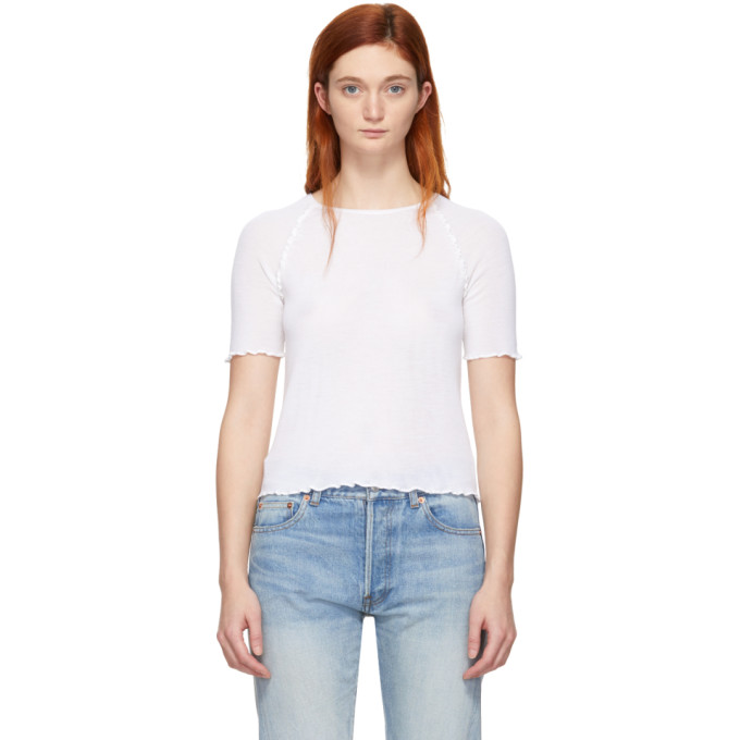 ALEXANDERWANG.T Alexanderwang.T White Wool Wash And Go T-Shirt in 106 Ivory