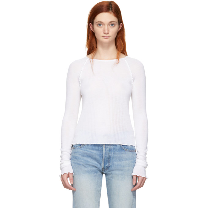 ALEXANDERWANG.T Alexanderwang.T White Wool Wash And Go Long Sleeve T-Shirt in 106 Ivory