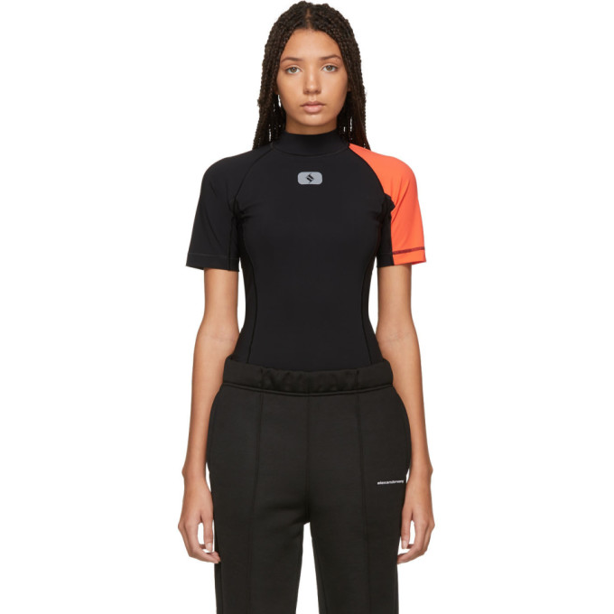 ALEXANDERWANG.T Alexanderwang.T Black And Orange Swim Bodysuit in 938 Blk/Pap
