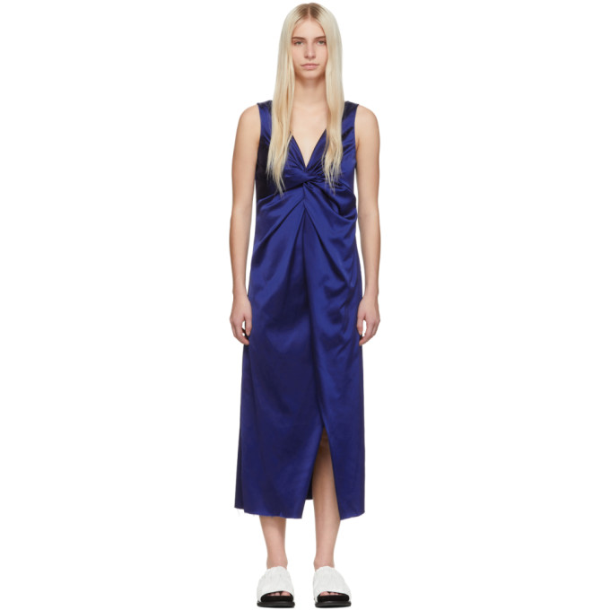 Marina Moscone Robe a col en V bleue Twisted