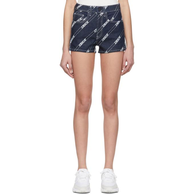 Jordache Short en denim bleu Rinse Diagonal Logo