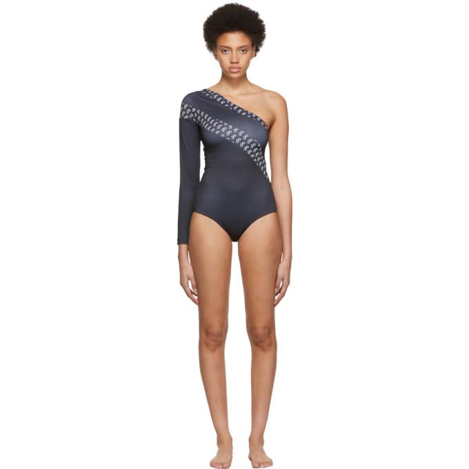 Saks Potts Black Single-Sleeve One-Piece Swimsuit