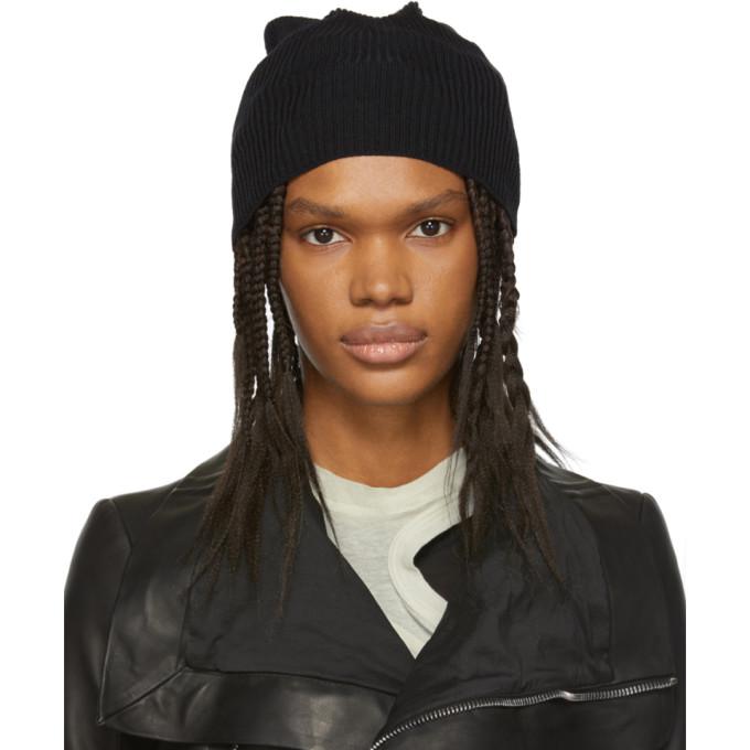 5be231137b7 Rick Owens Ribbed Knit Beanie - Black