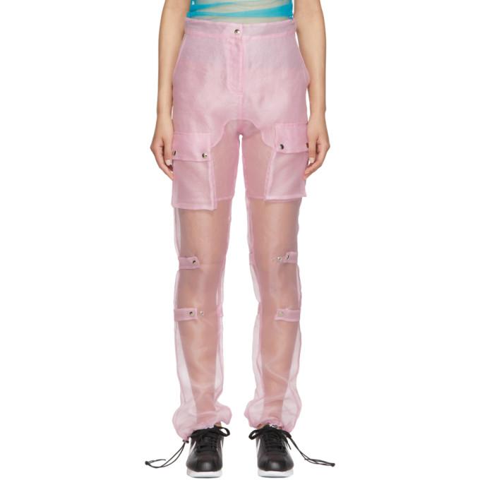 Supriya Lele Pantalon en organza rose Utility