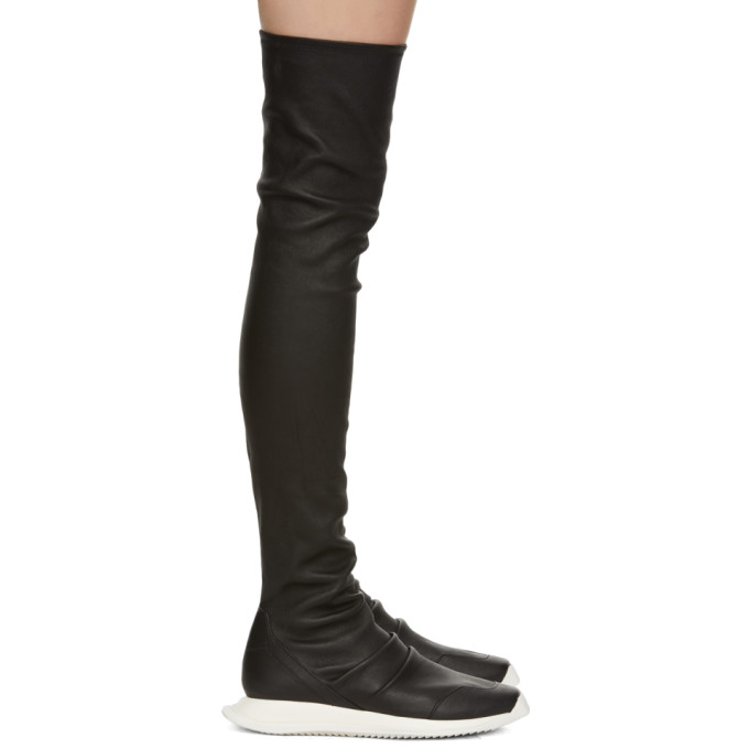 Rick Owens Black Oblique Runner Stocking Boots
