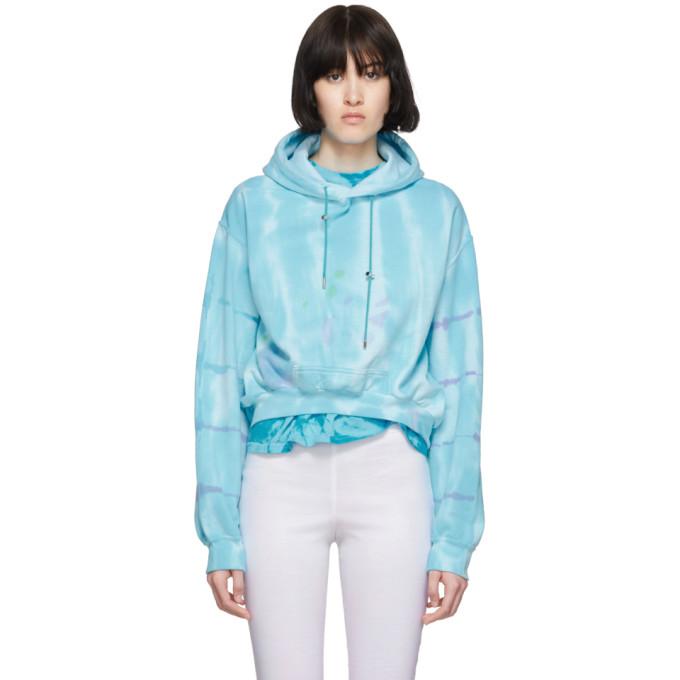 Collina Strada Pull a capuche et motif tie-dye bleu Round Hem