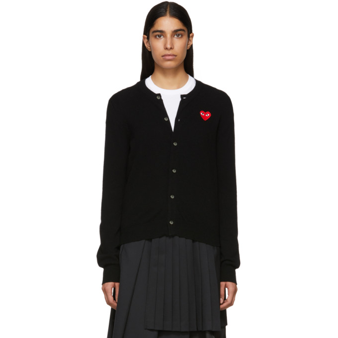 Image of Comme des Garçons Play Black Heart Patch Cardigan