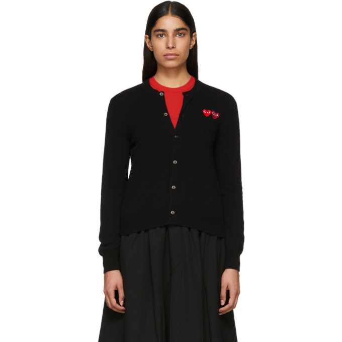 Image of Comme des Garçons Play Black Double Heart Patch Cardigan