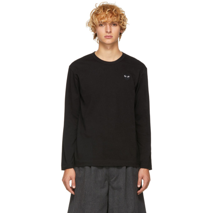 Image of Comme des Garçons Play Black Heart Patch Long Sleeve T-Shirt