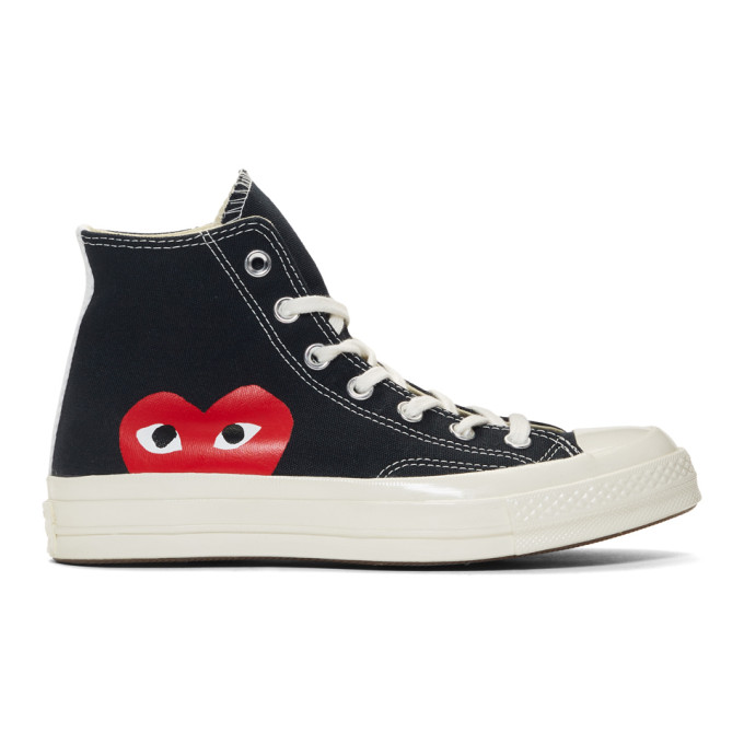 Image of Comme des Garçons Play Black Converse Edition Half Heart Chuck 70 High Sneakers