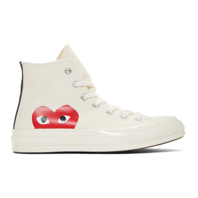 Comme des Garçons Play Off-White Converse Edition Half Heart Chuck 70 High Sneakers