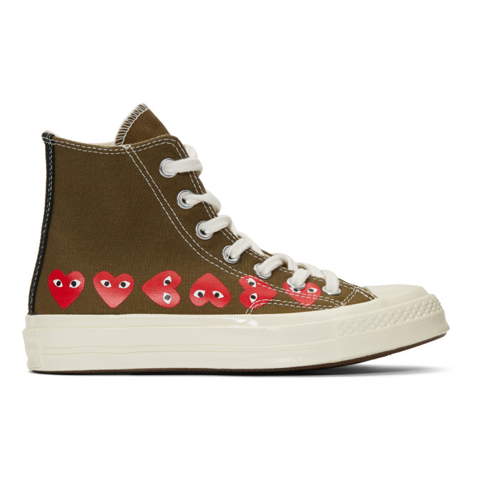 Comme Des Garçons Play Sneakers COMME DES GARCONS PLAY KHAKI CONVERSE EDITION MULTIPLE HEARTS CHUCK 70 HIGH SNEAKERS